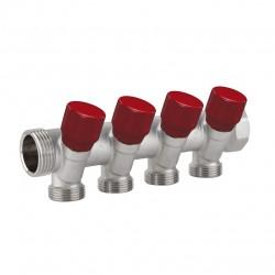 Vandentiekio kolektorius su uždarymo ventiliais, raudonas